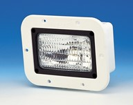 Flush mount flood light, trapezoidal beam, 12 volt dc