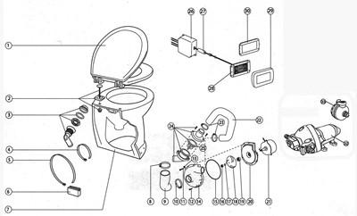 Jabsco 58240 1012 Deluxe Flush Electric Toilet Sea Or